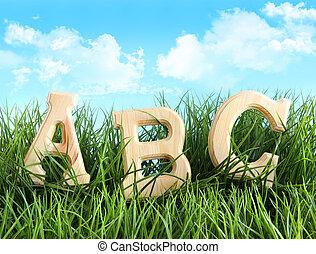 alfabet, breven, in, den, gräs