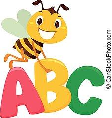 alfabet, brieven, bij