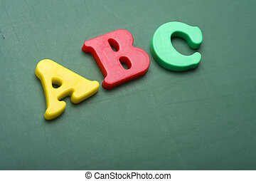 alfabet, brieven, chalkboard
