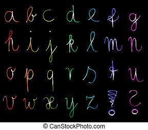 alfabet, brieven, flourescent