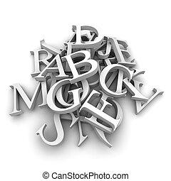 alfabet, brieven, geregen, in, een, hoop
