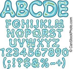 alfabet, brieven, getallen, en, tekens & borden, in, de, vorm, van, een, eiland, in, de, sea., vrijstaand, vector, objects.