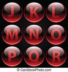 alfabet, brieven, glanzend, rood, (j-r)