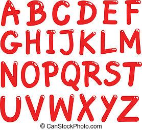 alfabet, brieven, hoofdstad