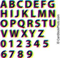 alfabet, brieven, illustration., alfabet, set., effect, typografie, cmyk, rgb, vector, getallen, letters.