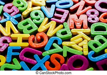 alfabet, brieven, kleurrijke