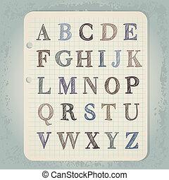 alfabet, brieven, wintage, notepad, hand, achtergrond,...