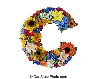 alfabet, c, bloem, -