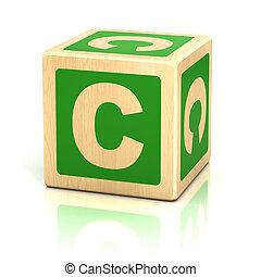 alfabet, c, lettertype, brief, blokje