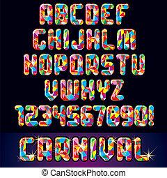 alfabet, carnaval, feestelijk