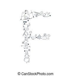 alfabet christm F - Decorative christmas font. Letters F