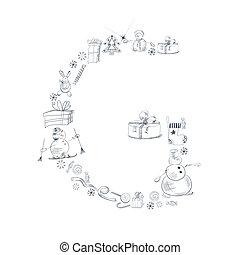 alfabet christm G - Decorative christmas font. Letters G