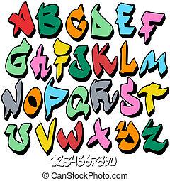 alfabet, chrzcielnica, graffiti