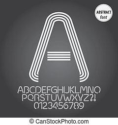 alfabet, cijfer, vector, lijn, abstract