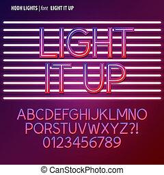 alfabet, cijfer, vector, neon belicht