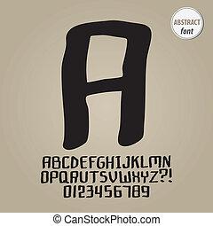 alfabet, cijfer, vector, straat, abstract