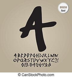alfabet, cijfer, vector, straat, borstel