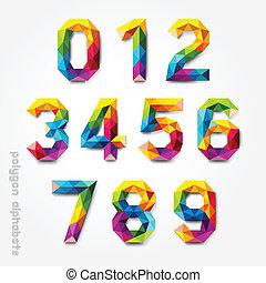 alfabet, colourful., veelhoek, getal