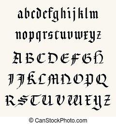 alfabet, compleet, middeleeuws