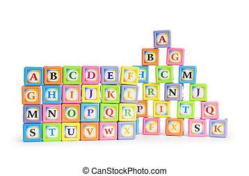 alfabet, concept, blokjes, back, schol
