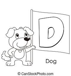 alfabet, d, djur
