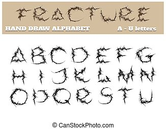 alfabet, deel, breuk, een