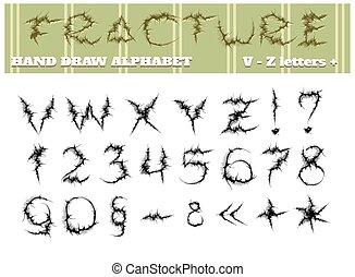 alfabet, deel, twee, breuk