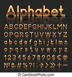 alfabet, dekoracyjny, złoty