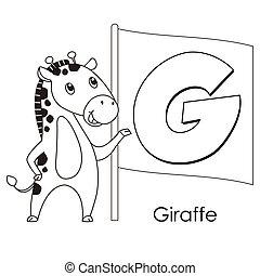 alfabet, dier, g