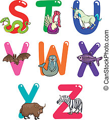 alfabet, dieren, spotprent
