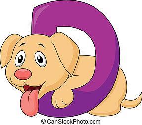 alfabet, dog, spotprent, d