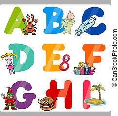 alfabet, dzieciaki, beletrystyka, wykształcenie, rysunek