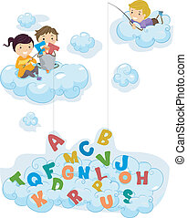 alfabet, dzieciaki, chmury, wędkarski, ilustracja