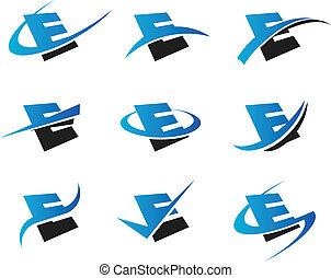 alfabet, e, iconen