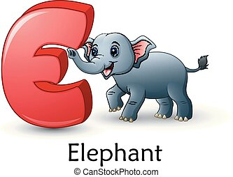 alfabet, e, spotprent, brief, elefant