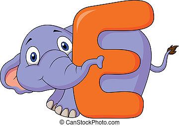alfabet, e, spotprent, elefant