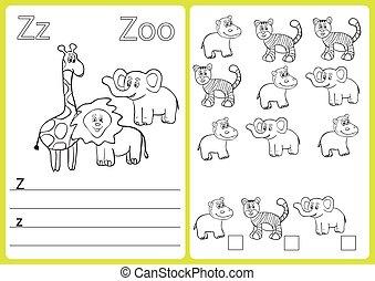 alfabet, een-z, -, raadsel, worksheet, oefeningen, voor, geitjes, -, kleurend boek
