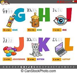 alfabet, elementarny wiek, komplet, rysunek, beletrystyka, dzieci, oświatowy