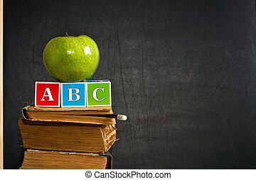 alfabet, en, groene appel, op, oud, schoolboek