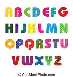 alfabet, färgrik