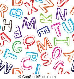 alfabet, färgrik, seamless, bakgrund