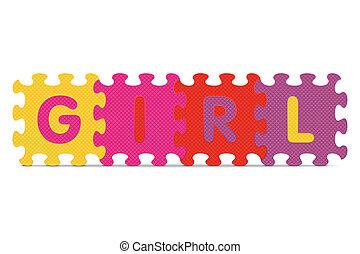 alfabet, flicka, problem, skriftligt