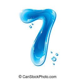 alfabet, flytande, serie, -, numrera, vatten, 7