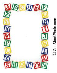 alfabet, frame, alfabet, blok