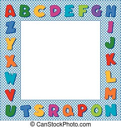 alfabet, frame, blauwe , gingham, controleren