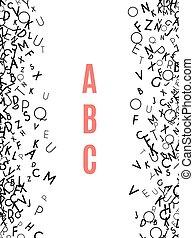 alfabet, frame, witte , vrijstaand, achtergrond