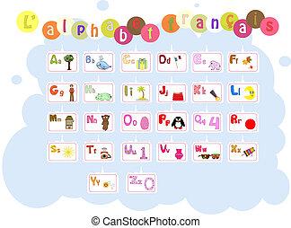 alfabet, francuski, ilustrowany, francais, /, l'alphabet