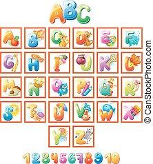 alfabet, geitjes, kleurrijke, afbeeldingen