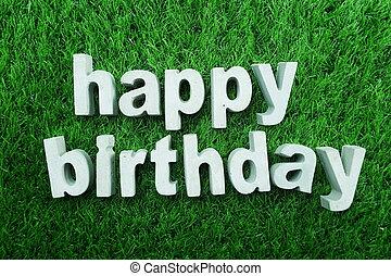 alfabet, gemaakt, gelukkige verjaardag, beton
