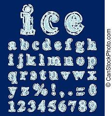 alfabet, gemaakt, in, de, vorm, van, ijs